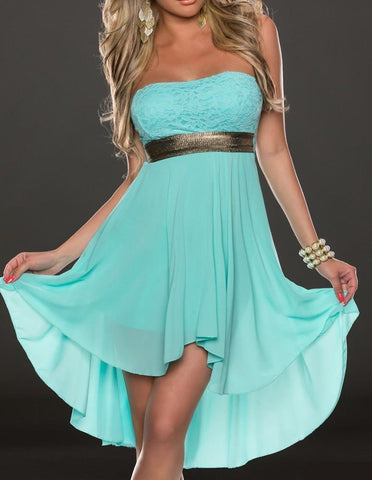 Blue Chiffon Strapless Sequined Waist Lace Back High Low Prom Dress - FADCOVER