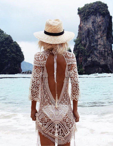 White Crochet Backless Back Tie Beach Dress Cover Up
