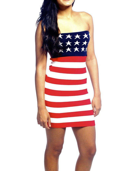 Stars And Stripes American Flag Print Strapless Short Bandeau Dress - FADCOVER