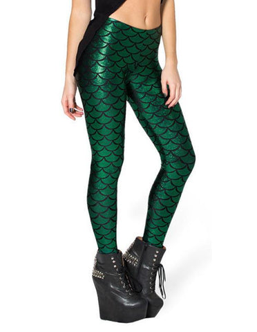 Green Mermaid Scale Print Sequin Tights Leggings for Women - FADCOVER