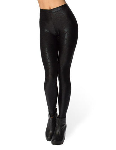 Slimming Womens Black Mermaid Scale Print Tight Pants Sequin Leggings - FADCOVER
