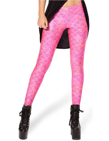 Cute Womens Pink Mermaid Scale Print Leggings Stretchy Tight Pants - FADCOVER