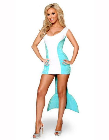 Blue White Dolphin Adult Female Halloween Costume - FADCOVER