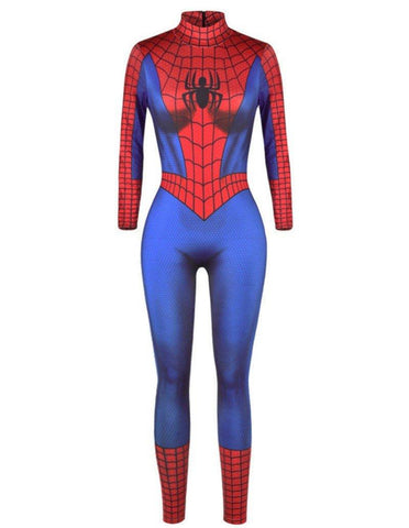 Spider-Man Womens Catsuit Halloween Costume Party Jumpsuit
