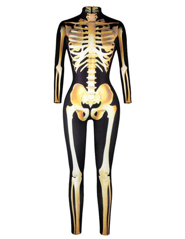 Gold Skeleton Print Halloween Costume Ball Catsuit Jumpsuit
