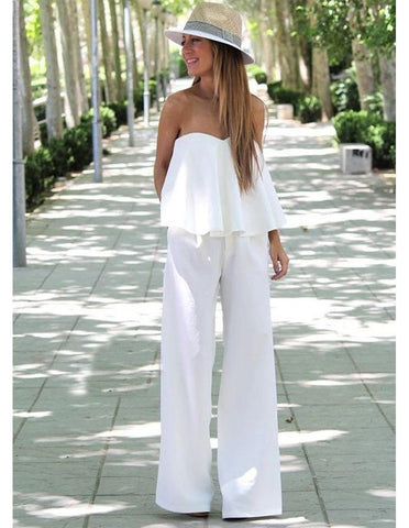 Womens Cute Solid White Flounce Top Loose Chiffon Fashion Jumpsuit