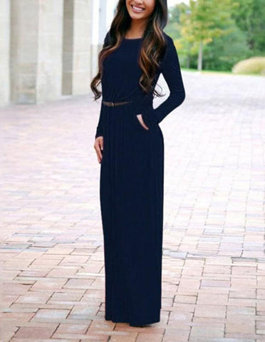 Leisure Dark Blue Loose Long Sleeve Belted Fall Maxi Dress With Pocket - FADCOVER