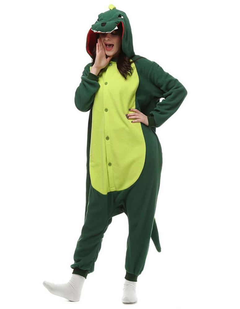 Green Dinosaur Winter One-Piece Pajamas Adult Fleece Animal Home Wear - FADCOVER