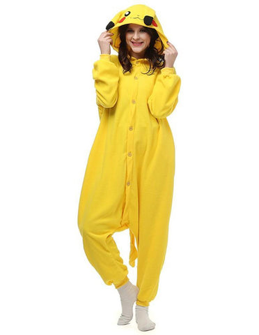 Pokemon Pikachu One-Piece Pajamas Adult Fleece Animal Costume Winter - FADCOVER