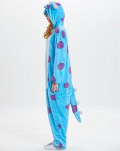 Adult Unisex Flannel Sulley Monster One Piece Pajama Onesie Costume
