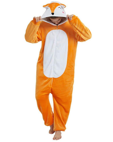 Adult Unisex Fox One Piece Flannel Pajama Onesie Costume