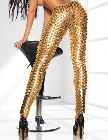Sexy Punk Metallic Gold Scale Shiny Cutout Tights Leggings - FADCOVER