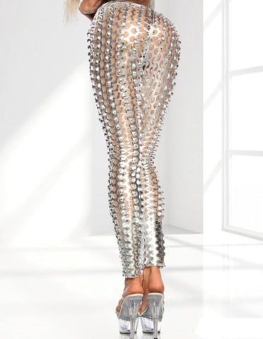 Sexy Punk Silver Scale Shiny Cutout Tights Leggings For Women - FADCOVER