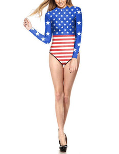 American Flag Printed Rashguard Surf Suit Womens One Piece Swimwear - FADCOVER