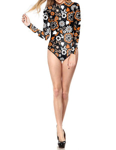 Abstract Floral Prints Womens Surf Suit Rash Guard One Piece Swimwear - FADCOVER