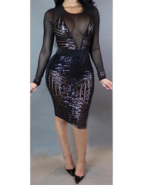 Black Sheer Mesh Insert Geo Sequins Tight Party Club Midi Pencil Dress - FADCOVER