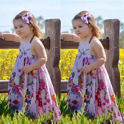 Boho Floral Girl's Maxi Dress Halter Tie Wonderful Summer Colors Big Girls Toddlers Kids Beach Festival Long Dresses Clothes Clothing