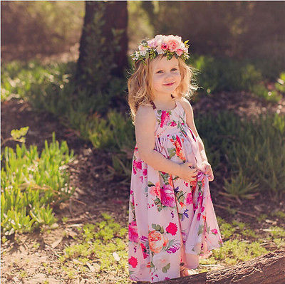 cb876652c Boho Floral Girl's Maxi Dress Halter Tie Wonderful Summer Colors Big Girls  Toddlers Kids Beach Festival