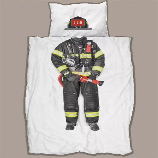 Basketball Player Firefighter Superhero Bedding Sets Boy's Bedroom Children's Decor Duvet Cover Twin Pillow Case