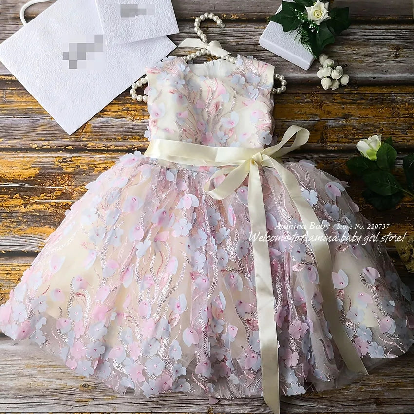 Flower Girls Dress Pink Dusty Blue Petals Ball Gown Girl's Dresses 15 Birthday Girl Party Dress Toddlers Girls' Kids Clothing