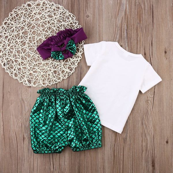 Baby Mini Mermaid 3 pc Set Pant Diaper Cover Top Headband 3/6 6/12 Baby Little Girls Infant Baby Shower Gift Clothes Kids USA