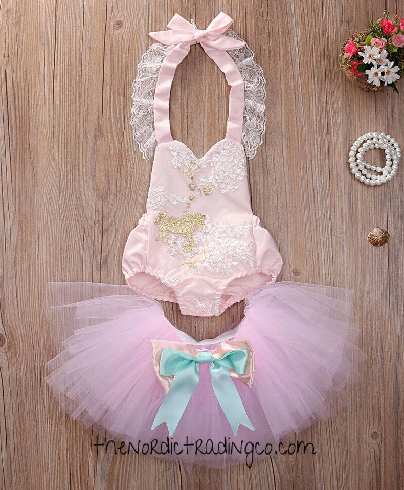 Baby Girl Carousel Pony Romper TuTu Set 3 6 9 12 mo Ships from USA Infant Toddler Birthday Gift First 1st Birthday Dress Set Horse Horses