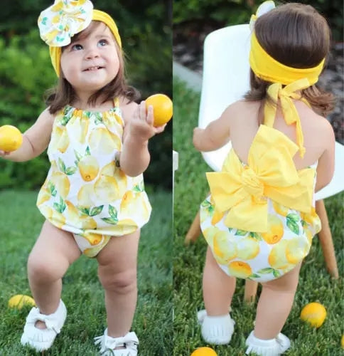 Lovely Lemons Girls Ronper Sun Suit Set Baby Shower Gift Sets Sunny Lemon Yellow Infant Girl Clothes Babies
