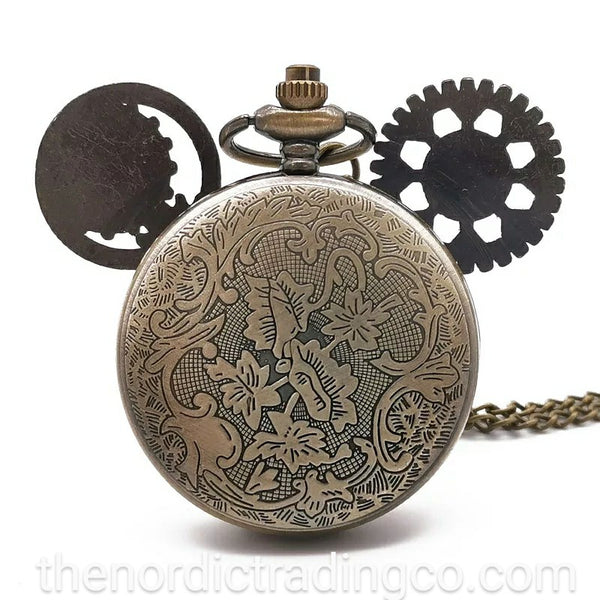 Mickey Mouse Steampunk Pocket Watch Vintage Bronze Gears for Ears Mens Jewelry Gifts Watches Donald Duck