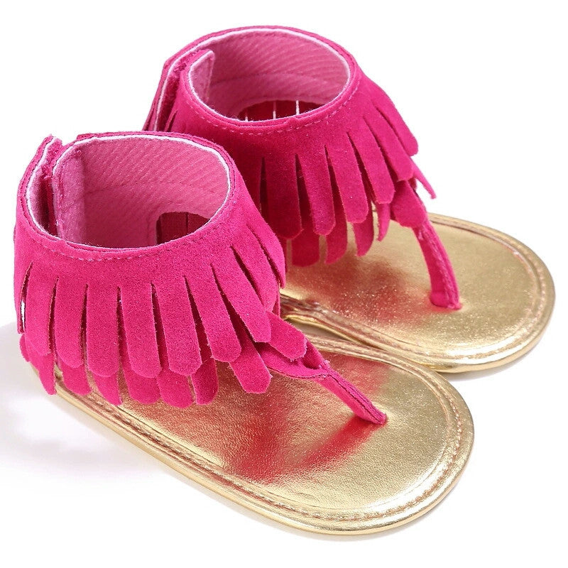 Baby Girl Fringe Vegan Suede Sandals USA Stock Ankle Strap Pink Hot Pink Brown Orange Turquoise Blue First Shoes sz 1 2 Infant Kids Sandal Boho