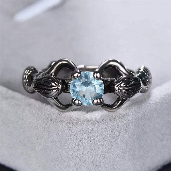 Womens Mermaid Ring Aquamarine CZ White Gold Plated Held by Two Mermaids Sea Goddess Rings Sterling Silver Blue CZ Gifts Women's Fine Jewelry Girlfriend Wife Birthday