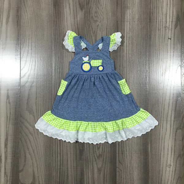 Farmer's Daughter Green Gingham Tractor Dress Baby Toddler Girls Dresses Boys Outfits Clothing Blue Jean Ruffles Toddlers Clothes