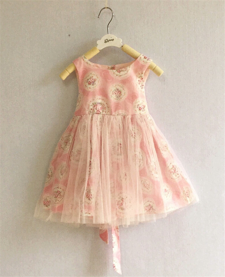 Shabby Chic Rose Floral Dress Tulle Overlay Easter Dresses Girl's Clothing