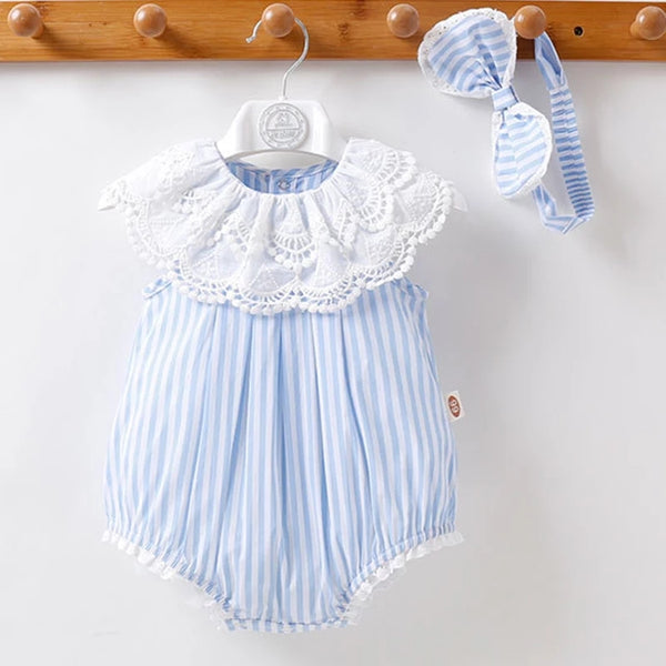 Baby Girl Bubble Romper Infant Girls Clothing Bodysuit Headband Matching Bow Beach Photography
