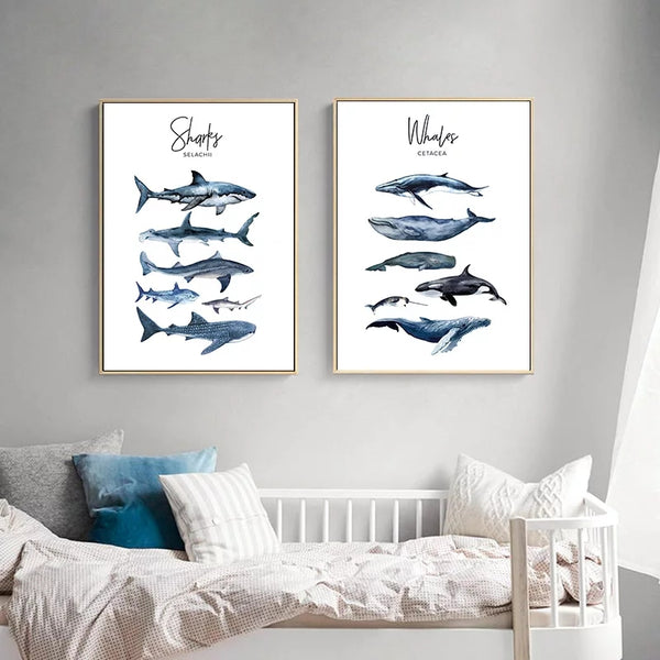 Whale Shark Theme Nursery Art Watercolor Canvas Prints Unframed Paintings Artwork Home Wall Decor Baby Kids Childrens Bedroom Play Room Prints