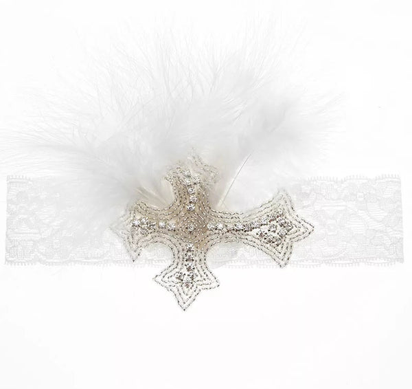 Vintage Crystal Cross Headband for Baby & Toddler Girls Baby Shower Gift Christian Gifts Christening Baptism Hairband Hair Bands Accessories