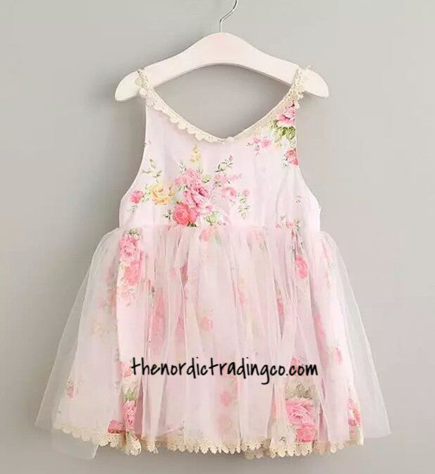 Baby Toddler Girl's Shabby Chic Dress Roses & Lace, Pink Blue Purple sz. 2T-5 Girl Children's Flower Dresses USA IN Stock Now