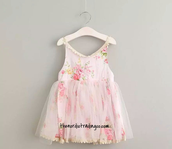 Toddler Kids Girl's Shabby Chic Dress Roses & Lace, Pink Blue Purple sz. 24 mo 3T - 6 Girl Children Flower Dresses