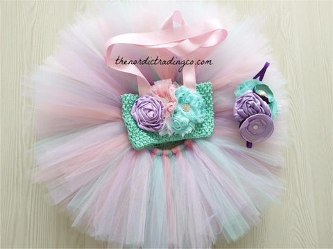 Baby Girl First Birthday Mermaid Tutu Set