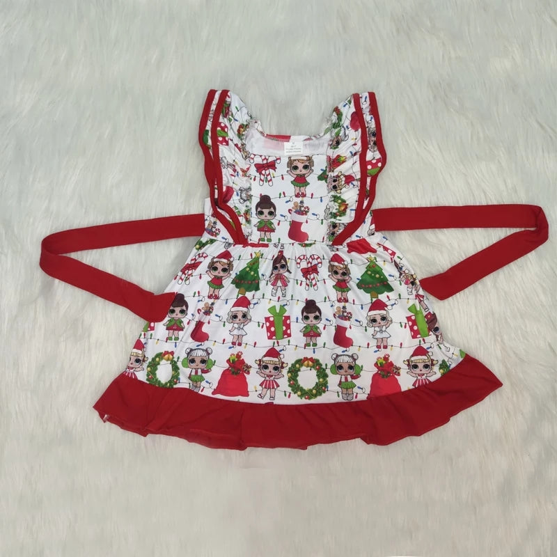 Little Girls LOL Christmas Dress Toddler Girls Holiday Party Twirl Dresses Surprise Doll