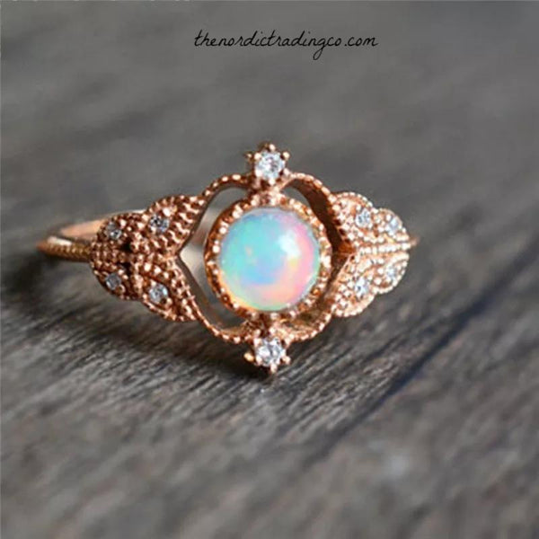 Tiny Baubles Rose Gold Synthetic Opal Rings Engagement Ring Wedding Anniversary High End Fine Jewelry Womens USA Women Women's