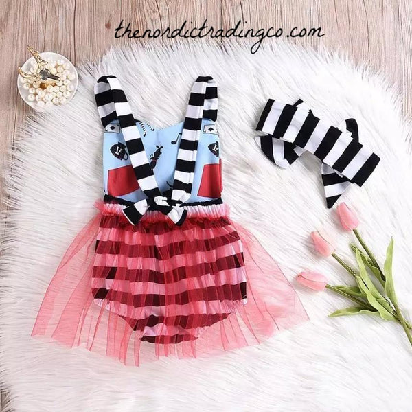 Alice in Wonderland Tutu Romper Baby Girl's Outfits First Birthday Party Gifts Girls Infant Toddler Baby Girl Half Unbirthday 12 18 mo Kids Skirts Dresses Halloween
