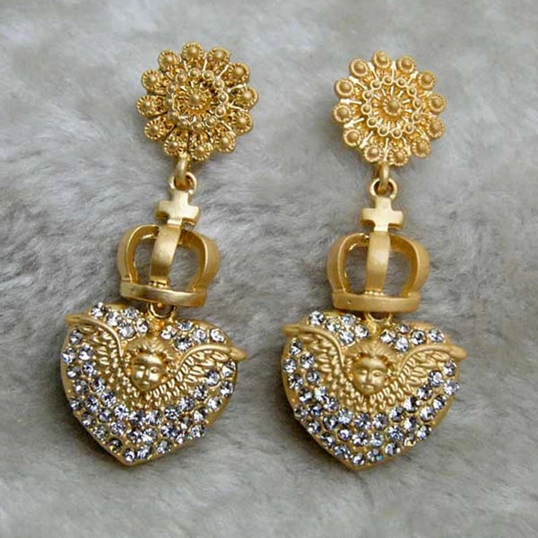 Womens Stunning Gold Earrings Angel Wings Crystal Pave Hearts Wing Baby Cherub's Women's Fine Jewelry Gifts Accessories Angels Cherub