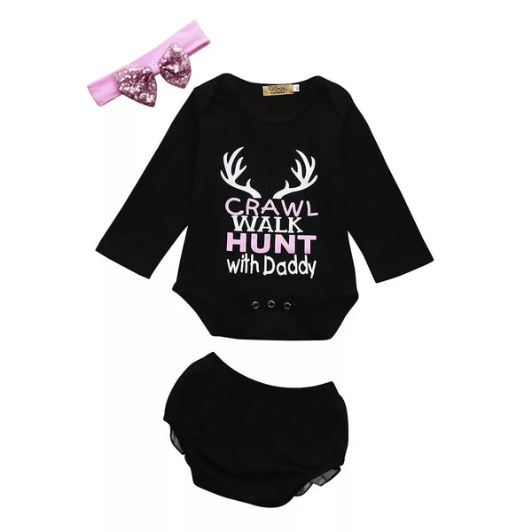 Crawl Walk Hunt with Daddy Newborn Girl's Outfit Father's Day Gift / Baby Shower Gifts Infant Girls 0/6 mo Onesie Bloomer Bow Pink Deer Antlers Hunting Theme Set