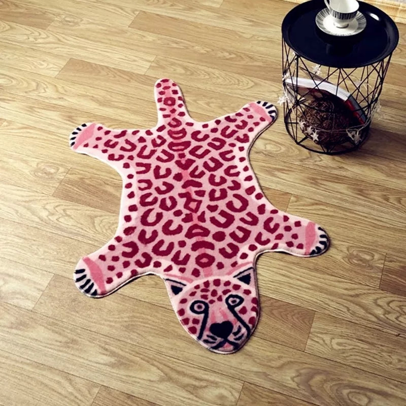 Faux Fur Pink Leopard Skin Rug Home Decor Safari Baby Kids Room