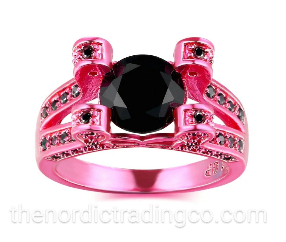 Shocking Pink Rhodium Black Gold CZ 5A Black Spinel Inset in Band & Atop it's 4 Fashionable Prongs High End Fashion Ring