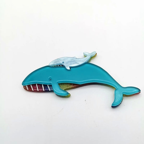 Whales with Calf Handmade by Acrylic Artisan's Many Colors Clip on Back Hair Brooch Women's Jewelry Accessories Gifts