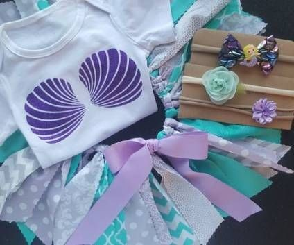 The Little Mermaid Inspired Girl's First Birthday Outfit Tutu Skirt Top Headbands plus lots of extras Party Dress Baby Toddler Girls Skirts Parties Ocean