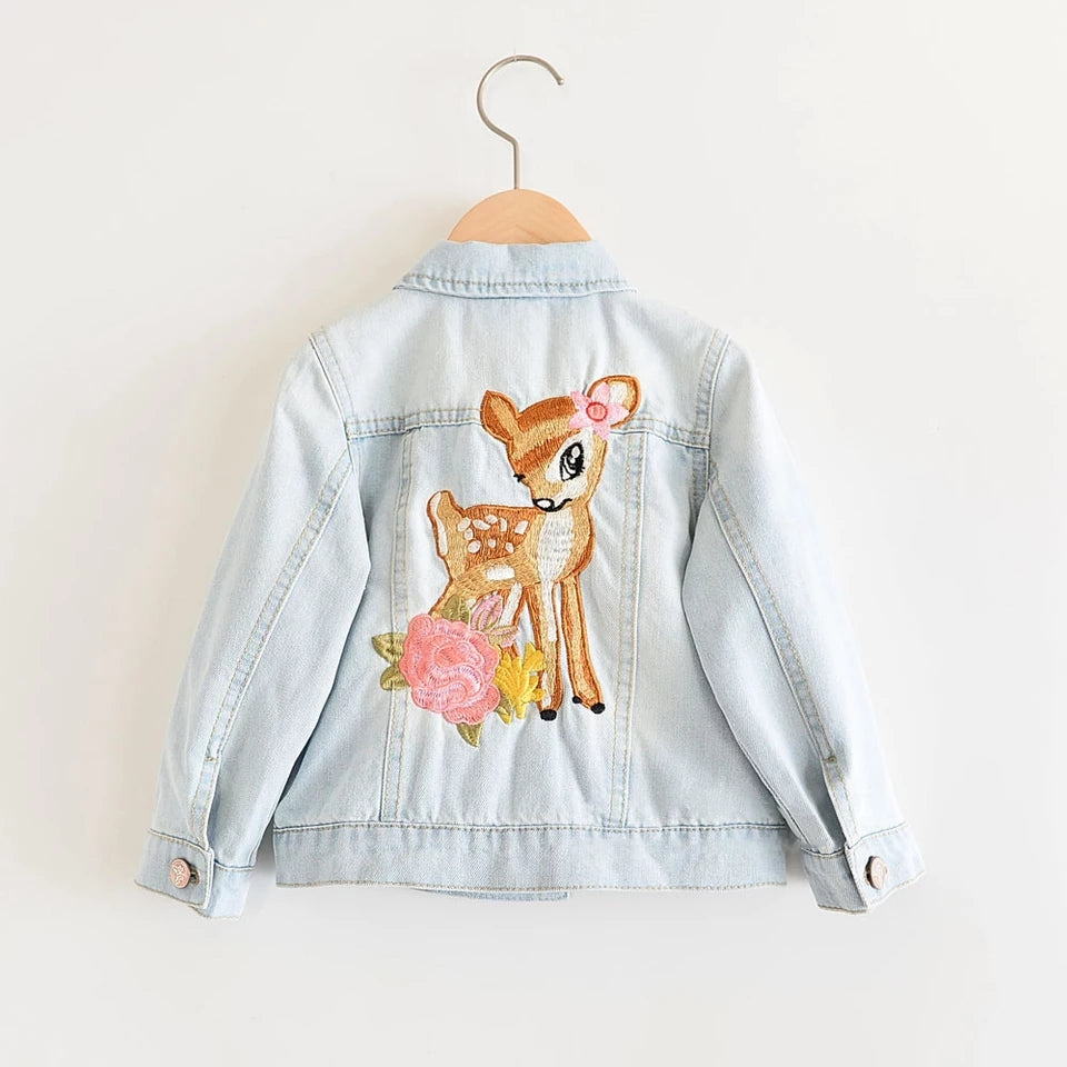 Girls Nordic Baby Deer Denim Jacket Blue Jean Toddler Girl Boho Outerwear Casual Kids Clothes Childrens Clothing Doe Squirrel Coats