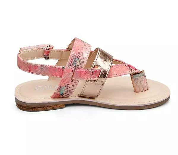 Girls Boho Glam Faux Snake Skin Pink Gold Velcro Strap Girl Toddler Kids Clothing Childrens Shoes Accessories