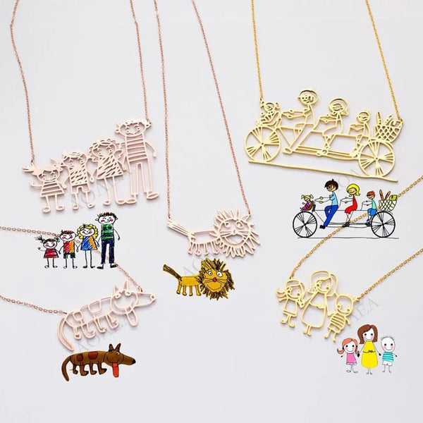 Children's Drawings Come to Life a Personalized Necklace Children's Art Mommy Daddy Grandma Grandpa Priceless Christmas Gifts
